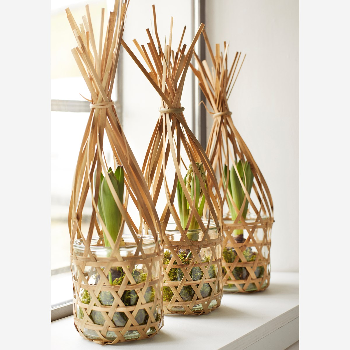 Bamboo basket w/ glass