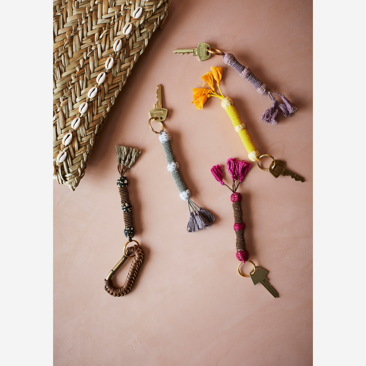 Beaded keychain w/ tassels