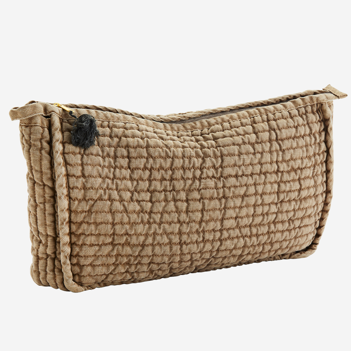 Quilted linen toilet bag w/ tassel