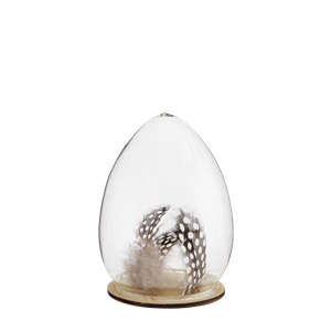 Standing egg w/ feathers