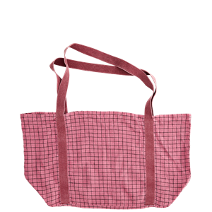 Checked linen tote bag