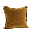 Velvet cushion cover w/ fringes