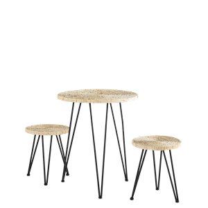 Straw rope table w/ stools
