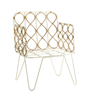 Iron chair w/ bamboo cane