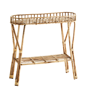 Standing bamboo shelf