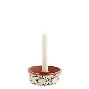 Handpainted clay candle holder