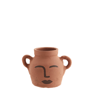Clay vase w/ face decoration