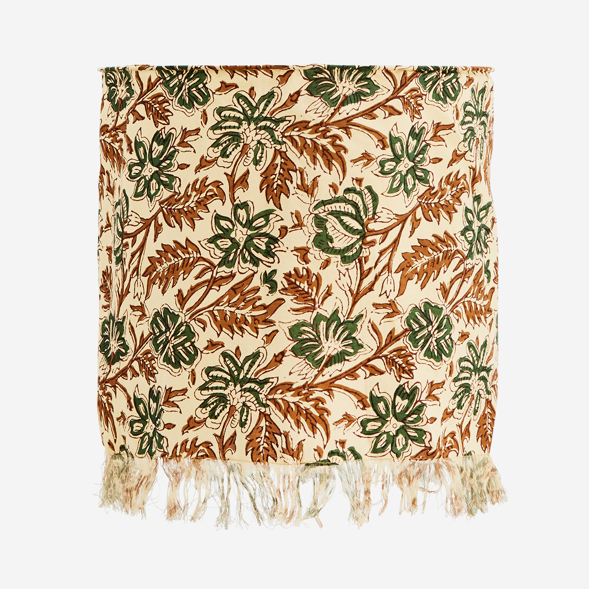 Printed cotton lamp shade w/ fringes
