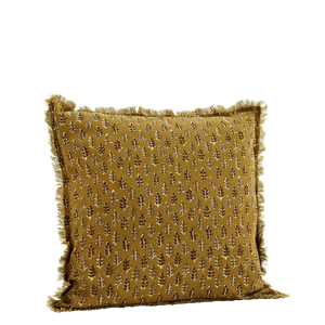 Printed cushion cover w/ fringes