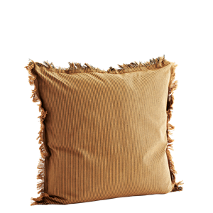 Striped cushion cover w/ fringes