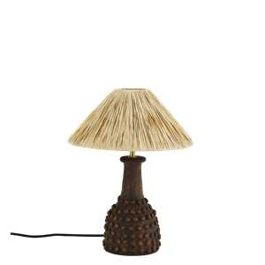 Terracotta table lamp w/ raffia