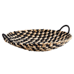Round wicker tray w/ handles