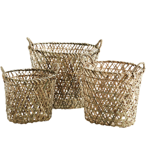 Oval bamboo baskets w/ handles