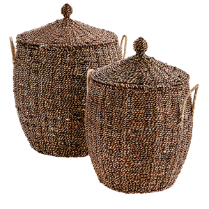 Wicker baskets w/ lid