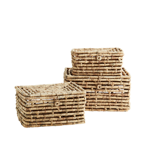 Rectangular wicker boxes w/ lid