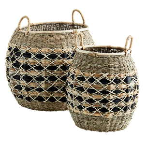 Round wicker baskets w/ handles