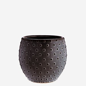 Stoneware flower pot w/ dots