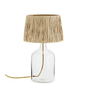 Glass table lamp w/ raffia shade