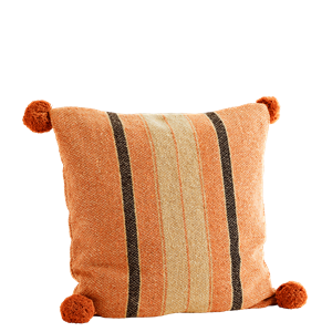 Striped cushion cover w/ pompoms