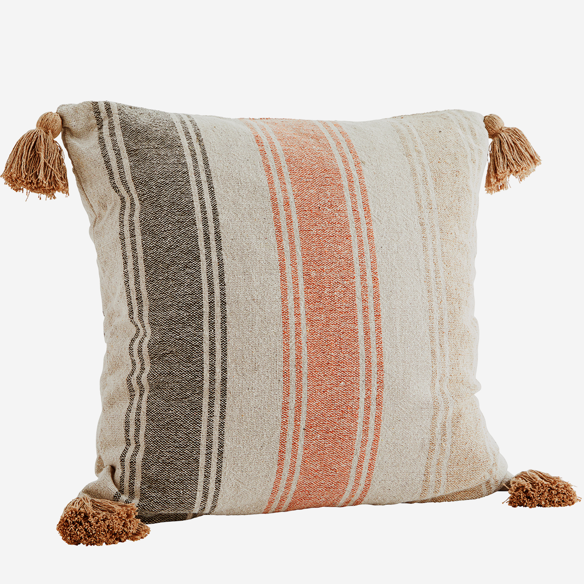 Striped cushion cover w/ tassels