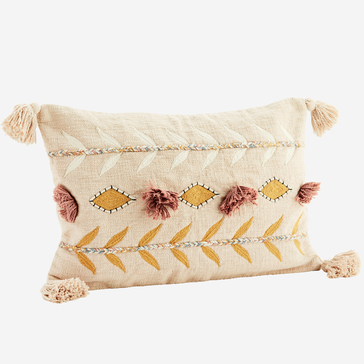 Embroidered cushion cover w/ tassels