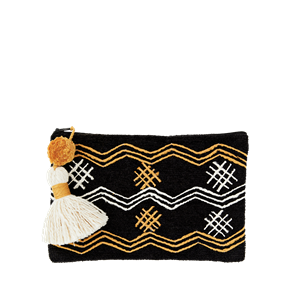 Chenille clutch w/ embroidery