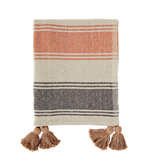 Striped woven throw w/ tassels