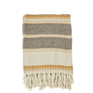 Striped woven throw w/ fringes