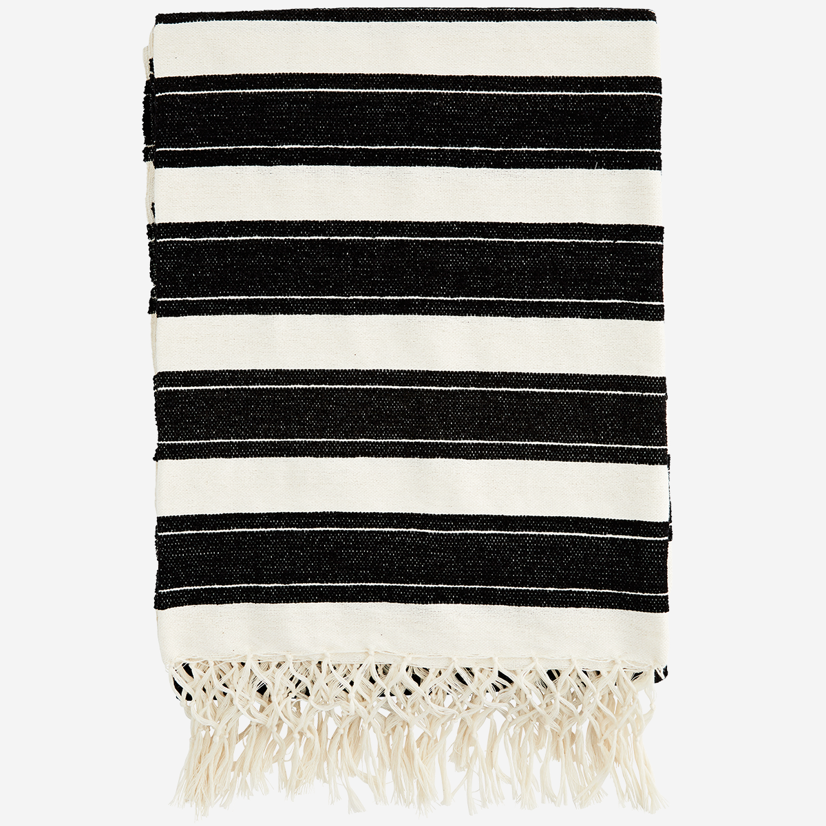 Striped throw w/ fringes