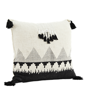 Printed cushion cover w/ tassels