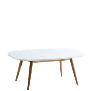 Marble coffee table w/ wooden legs