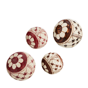Hand decorated stoneware balls
