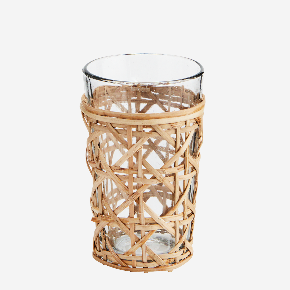 Drinking glass w/ bamboo cane