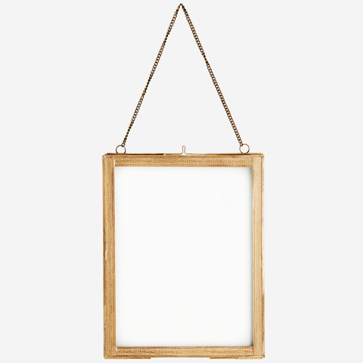 Hanging photo frame w/ brass borders