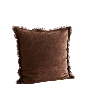 Corduroy cushion cover w/ fringes
