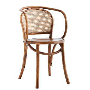Wooden chair w/ armrest and rattan