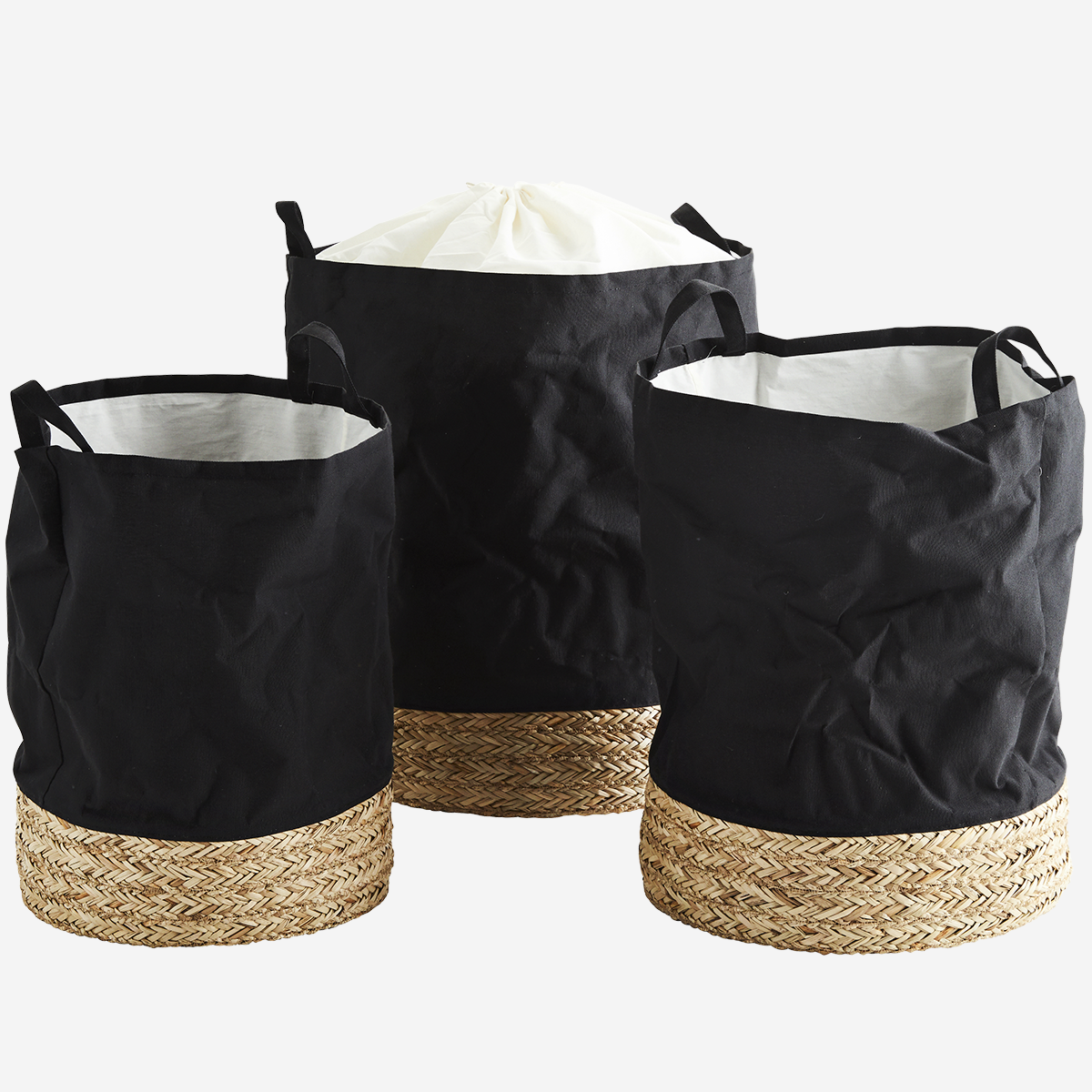 Fabric hampers w/ straw base