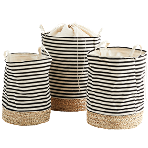 Striped fabric hampers w/ straw base