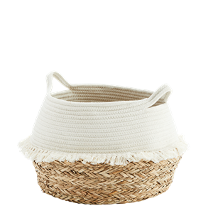 Cotton rope basket w/ fringes